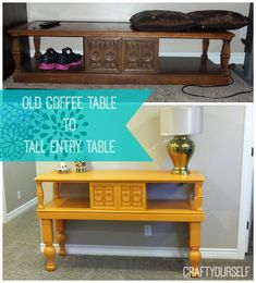 Upcycle an Old Coffee Table to a Tall Entry Table - Craft