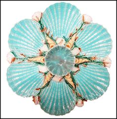 George Jones Majolica Shell and Coral Oyster Plate Manufacture De Sevres, Antique China, Antique Dishes, Pottery Making, Shell Crafts, Beach Cottages, Earthenware, Coastal Decor, Ceramic Pottery
