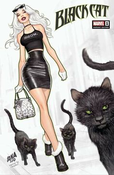 Black Cats Spiderman Cats And Kittens Marvel Comics, Bd Comics, Comics Girls, Marvel Art, Marvel Characters, Comic Book Characters, Comic Books Art, Comic Art, Spiderman Black Cat