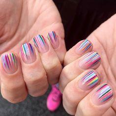 Girls Nail Designs, Striped Nail Designs, Striped Nails, Nail Art Designs, Fancy Nails, Cute Nails, Pretty Nails, Gelish Nail Colours, Shellac Nails
