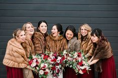 Winter Wedding Fur, Winter Bride, Winter Wonderland Wedding, Winter Weddings, Vintage Fur, Vintage Bridal, Cranberry Dress, Fur Stole, Wedding Bridesmaids