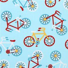 light blue bike vehicle fabric Robert Kaufman Ready Set Go 2 1 Cute Designs, Vintage Designs, Retro Fabric, Textiles, Kawaii Shop, Robert Kaufman, Material Girls, Dark Colors, Blue Nails