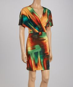 This Yellow & Green Abstract Pleated Surplice Dress - Women by Jessica Simpson Collection is perfect! #zulilyfinds