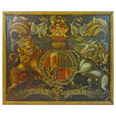 Early 18th Century English Coat of Arms with Lion and Unicorn | From a unique collection of antique and modern paintings at https://www.1stdibs.com/furniture/wall-decorations/paintings/