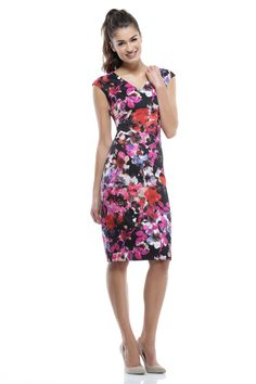 Cap Sleeve Winter Floral Sheath Dress by Maggy London