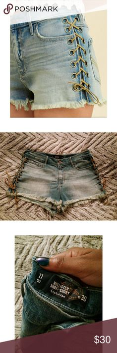 NWOT Hollister Lace-Up High Rise Short Shorts Bought earlier this summer, but never worn. Hollister's picture shows the true color.  Nearly sold out! Hollister Shorts Jean Shorts