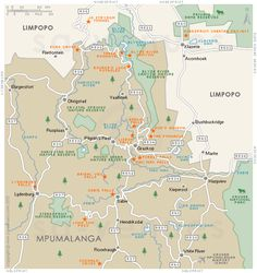 Panorama Route basic street map showing main roads and the location of attractions in and around Panorama Route, Mpumalanga . South Africa Map, Anniversary Plans, Plan My Trip, World Travel Guide, Kruger National Park, Old Maps, African Safari, Africa Travel, Sep 2016