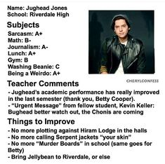Riverdale report cards- Jughead Jones
