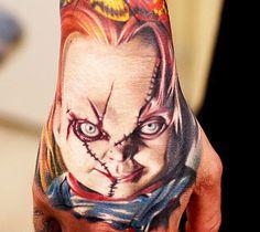 Chucky Hand Tattoo by Khan