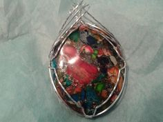 Multicolored Sea Sediment Pendant Wrapped in Sterling Silver by MamaGotRocksJewelry on Etsy