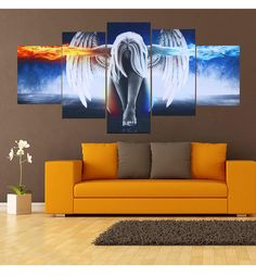 Fire and Ice Angel Film 5pcs HD Painting Printed Canvas Wall Art Home Decorative #Unbranded #ArtDeco
