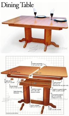 Dining Table Plans - Furniture Plans and Projects | WoodArchivist.com