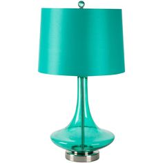 Surya Zoey Teal Satin & Glass Table Lamp ($148) ❤ liked on Polyvore featuring home, lighting, table lamps, colored lights, glass shades, glass lamp, colored glass lamps and teal lamp