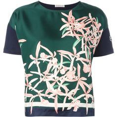 Moncler floral print top featuring polyvore, women's fashion, clothing, tops, multicolour, green floral top, sleeve top, flower print top, multi color tops and green top