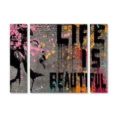 """Trademark Art 'Life is Beautiful' by Banksy 3 Piece Graphic Art on Wrapped Canvas Set Size: 24"""" H x 32"""" W x 2"""" D"""