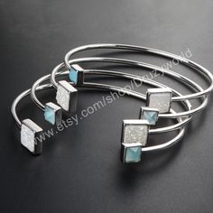 Wholesale Silver Plated Square Natural Agate Titanium Druzy & Blue Chalcedony Bangle Bracelet Adjustable AB color Drusy Bezel Handcuff ZS027 by Druzyworld on Etsy