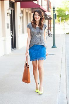 Lace skirt and grey t-shirt (but of course).