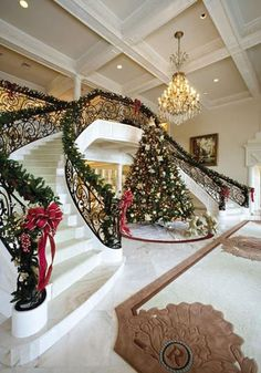 CHRISTMAS FOYER - Grand Foyer double staircase decorated for Christmas