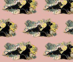 German Shepherd Puppies in the garden fabric by dogdaze_ on Spoonflower - custom fabric