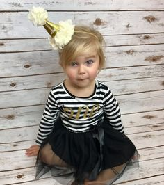 First Birthday Dress | Black and White Striped Birthday Dress with Gold One