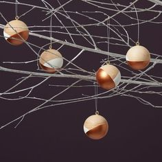 Copper Handpainted Christmas Baubles