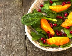 Orange, spinach, & pomegranate salad - refreshing and packed with a nutritional punch!  Delicious Salads: www.thebodyhealer.com/recipes/salads/?atid=3