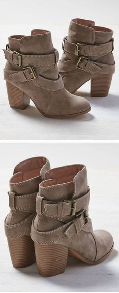 Taupe Buckle Booties.