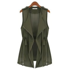 Army Green Drawstring Zipper V-neck Sleeveless Chiffon Vest ($37) ❤ liked on Polyvore featuring outerwear, vests, jackets, tops, olive green vest, sleeveless waistcoat, v neck sweater vest, olive vest and vest