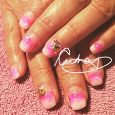 Pink glittery ombre nails