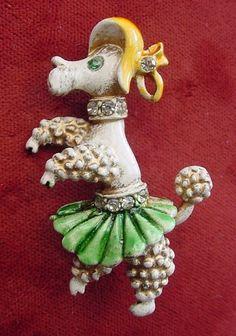 Vintage Retro Florenza Enamel Rhinestone Dancing Poodle Dog Brooch Pin   eBay
