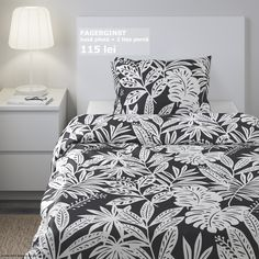 IKEA - FAGERGINST, Duvet cover and pillowcase(s), gray, white, Concealed snaps keep the duvet in place. Made in cotton - a natural and durable material that becomes softer with every wash. Includes: 1 Twin duvet cover and 1 pillowcase. White Duvet Covers, Duvet Cover Sets, Bright Homes, Ikea Us, Luxury Bedding Sets, Queen Duvet, Quilt Cover, New Room, Grey And White