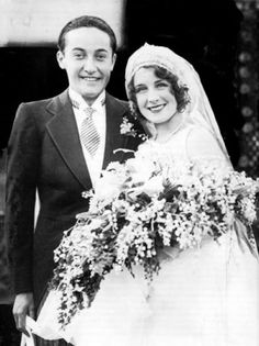 Irving Thalberg & Norma Shearer on their wedding day   (1927)