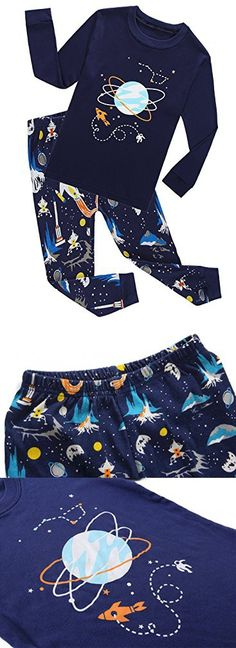 Family Feeling Space Baby Boys Long Sleeve Pajamas Sets 100% Cotton Clothes Toddler Infant Kids 18-24 Months Blue