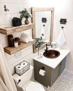 Cool Farmhouse Bathroom Makeover Design Ideas - The bathroom is an integral part of a person's home and as such, must be treated with extra care when redecorating. The ritual of soaking in a hot bat. Bad Inspiration, Bathroom Inspiration, Diy Bathroom Decor, Bathroom Interior, Bathroom Trends, Bathroom Organization, Bathroom Storage, Bathroom Designs, Budget Bathroom