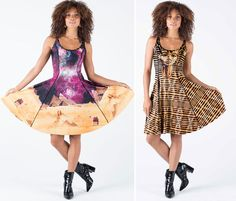 King Tut Vs Galaxy Over Giza Longline Inside Out Dress – PRESALE ($199AUD) by BlackMilk Clothing