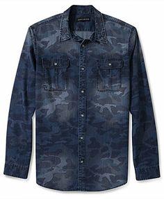 DKNY Jeans Shirt, Long-Sleeve Denim Camo