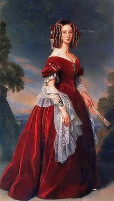 Franz Xaver Winterhalter - Portrait of Marie-Louise, First Queen of the Belgians ca 1841 Franz Xaver Winterhalter, Historical Costume, Historical Clothing, Victorian Art, Victorian Fashion, Woman Painting, Portrait Art, Fashion History, Film Fashion