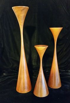 3 Rude Osolnik Mid Century Danish Modern Candlesticks Turned Wood Signed #RudeOsolinik
