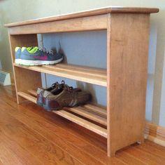 Wood shoe rack, bench. $100.00, via Etsy.