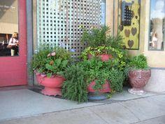 tasteful tire planters -Austin TX