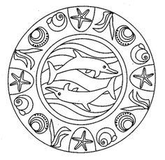 Molde de mandala de golfinhos