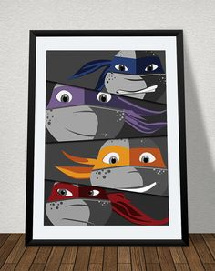 Teenage Mutant Ninja Turtles Poster Print - TMNT Cartoon Vector Art - Man Cave - Comic Book Fan - Comic Print - SuperHero Print -Comics