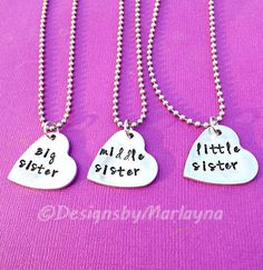 Big Sister, Middle Sister, Little Sister, Three Necklace Set, Sister Jewelry, Hand Stamped Necklaces, Three Pieces, Mother's Day Gift,