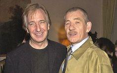 "October 11, 2001 - Alan Rickman and Ian McKellen at the ""Dance of Death"" press night."