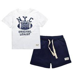 6ae6c89ec7 Kids Boys Clothes Sets Summer 2017 Football Print Boy Sports Suit T-shirts  and Shorts set Children Clothing Cotton CF432