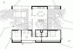 Gallery of House Architecture Rifa / Villalba, Rudolph, Vila, López, Canén… Modern House Plans, Small House Plans, House Floor Plans, Villa Plan, Architecture Design, Casa Patio, Duplex, Plan Design, Minimalist Home