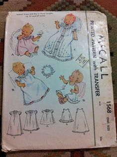 McCall 1568 vintage baby layette sewing pattern