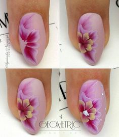 Trendy painting acrylic nails one stroke ideas Flower Nail Designs, Best Nail Art Designs, Flower Nail Art, Acrylic Nail Designs, Acrylic Nails, Trendy Nail Art, Cool Nail Art, One Stroke Nails, Nail Art Techniques