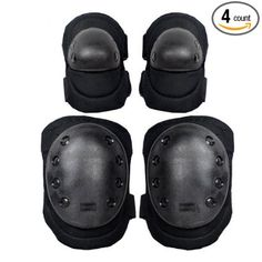 Leadpo Advanced Tactical Protective Knee Pads, Elbow Pads 2 In 1 Protective Gear Set for Multi Sports Skateboarding lnline Roller Skating Cycling Biking BMX Bicycle Scooter ( Black)