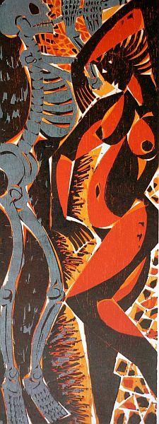 TANZ I/DANSE MACABRE Farbholzschnitt 2009 Bildformat 57 x 21,5 cm, Papierformat 64,5 x 45,5 cm, Auflage 7 Exemplare, signiert und nummeriert